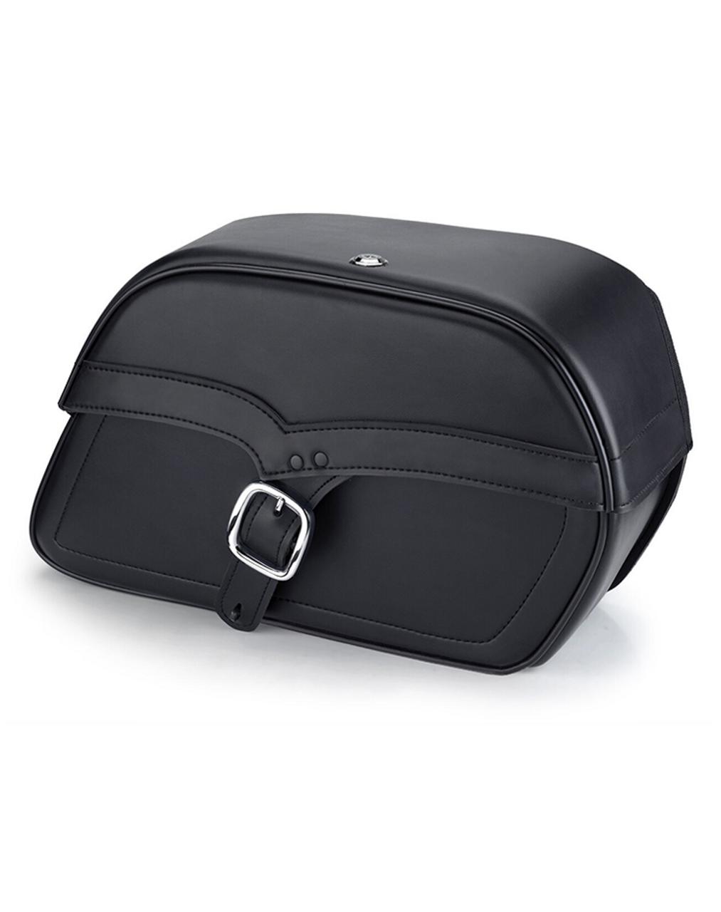Viking Single Strap Large Shock Cutout Slanted Motorcycle Saddlebags For Harley Sportster Iron 1200 Main Bag View