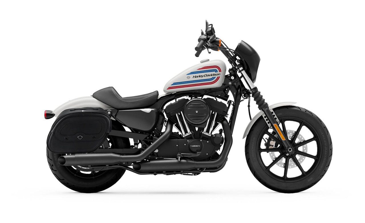 Viking Spear Shock Cutout Large Motorcycle Saddlebags For Harley Sportster Iron 1200 Bag on bike view