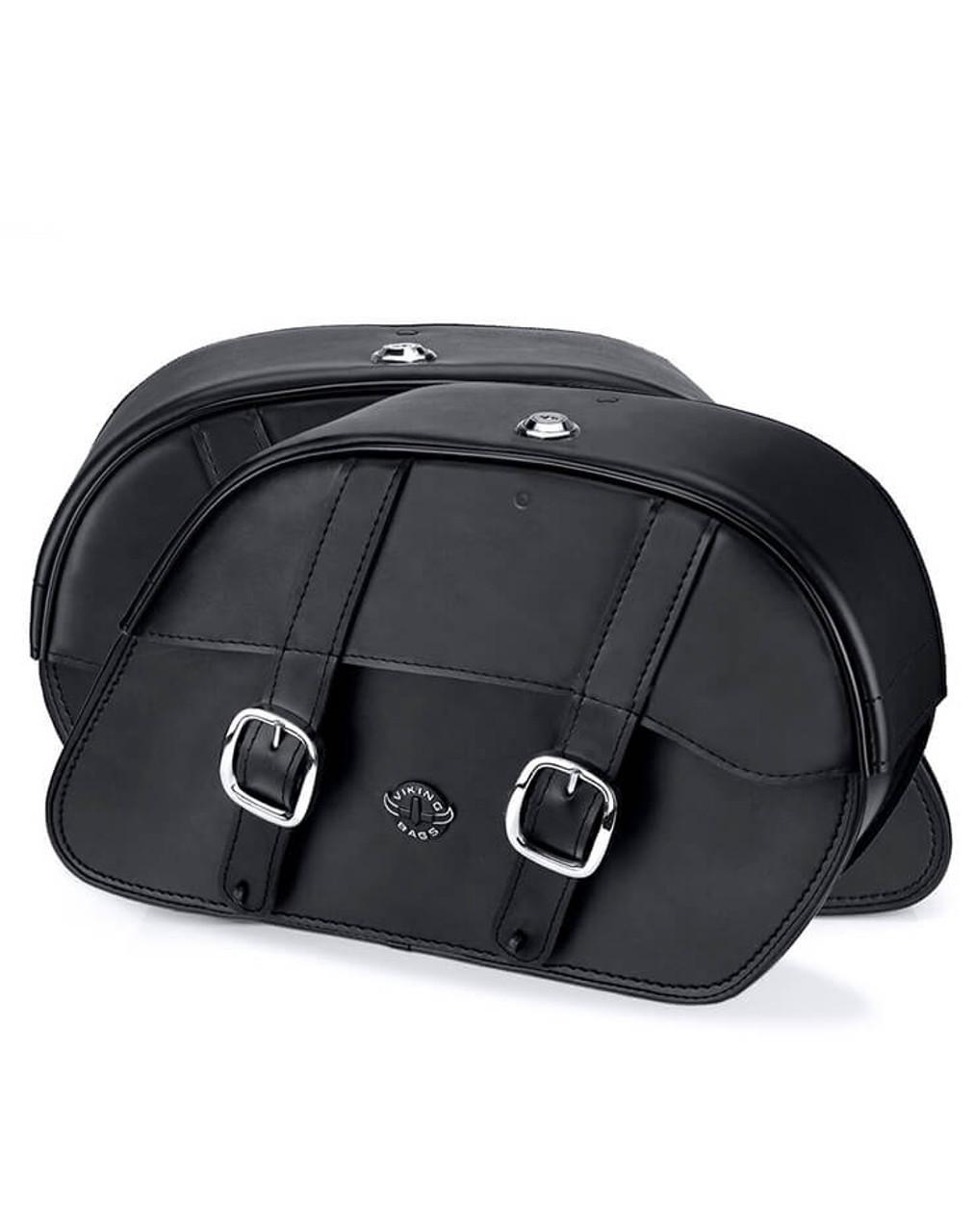 VikingBags Skarner Large Double Strap Kawasaki Vulcan S ABS Cafe Leather Motorcycle Saddlebags Both Bags View