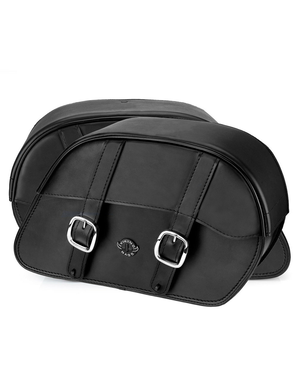 Viking Slanted Medium Motorcycle Saddlebags For Harley Softail Low Rider Both Bags