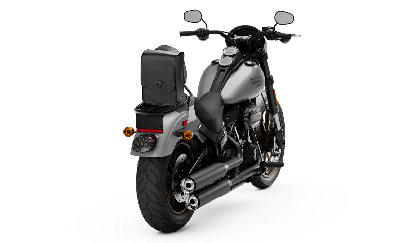 Viking Dark Age Plain Leather Motorcycle Sissy Bar Bag on Bike