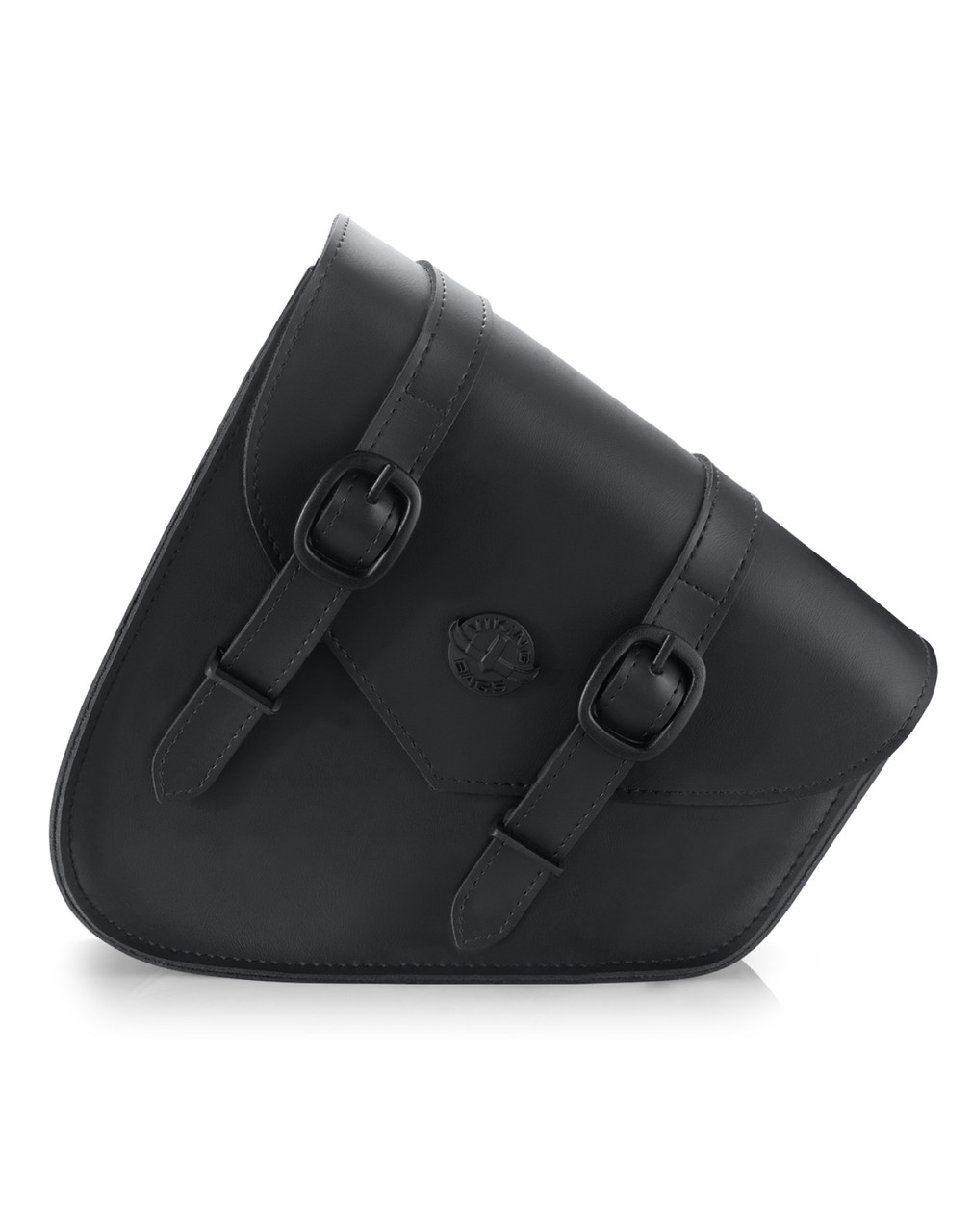 Viking Dark Age Plain Leather Motorcycle Swing arm Bag For Harley Softail Front View