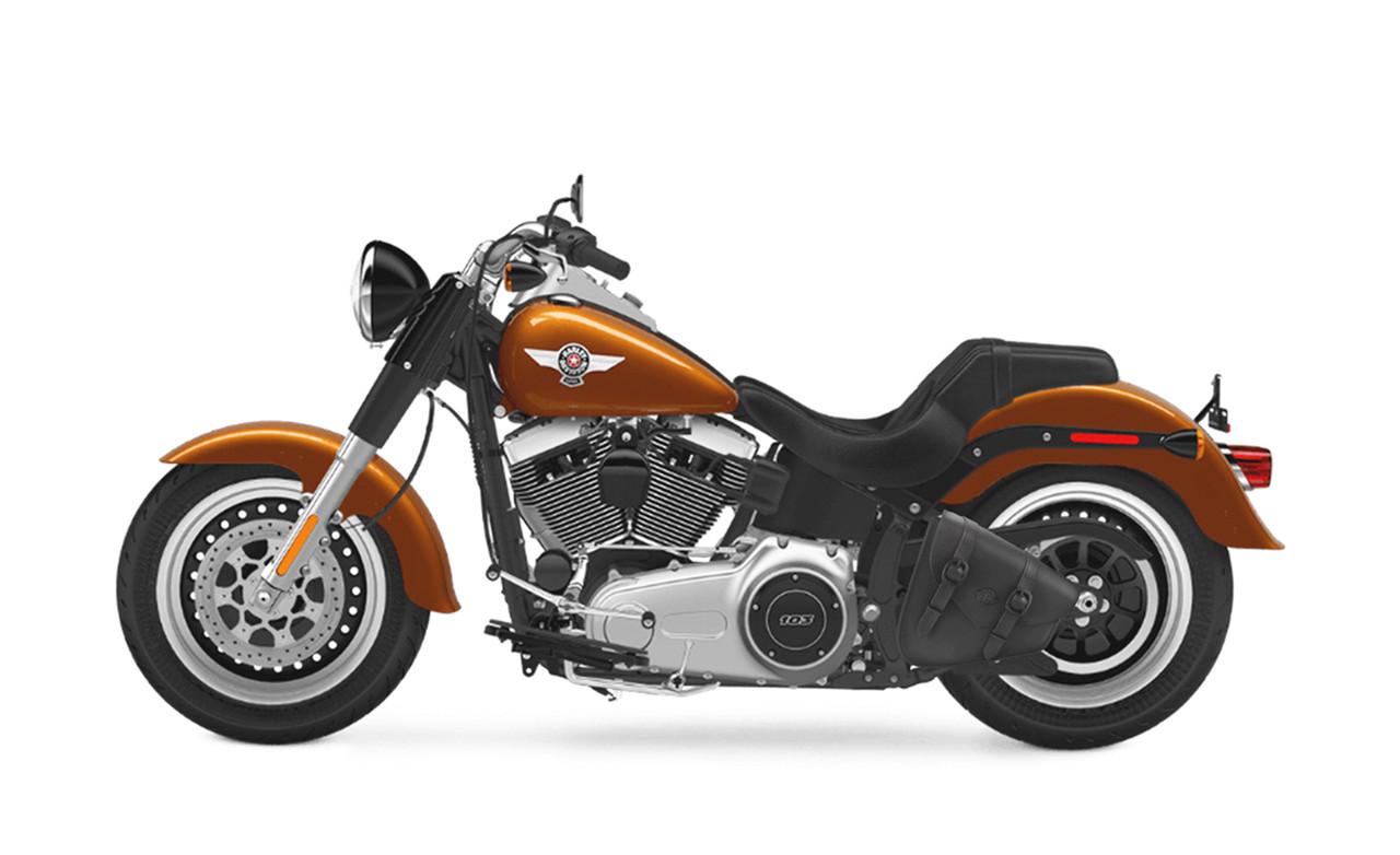 Viking Dark Age Plain Leather Motorcycle Swing arm Bag For Harley Softail Bag On Bike View