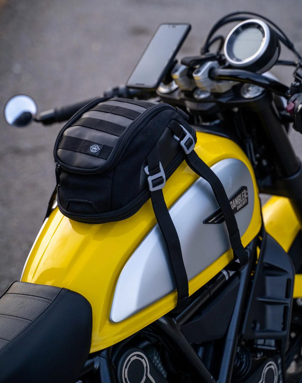 Viking Bonafide Black Motorcycle Cafe Racer Tank Bag Bag on bike view