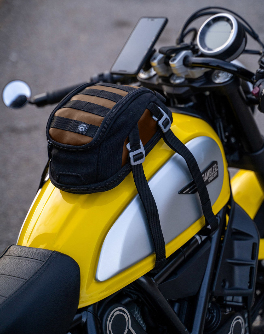 Viking Bonafide Brown Motorcycle Cafe Racer Tank Bag  Bag on Bike View