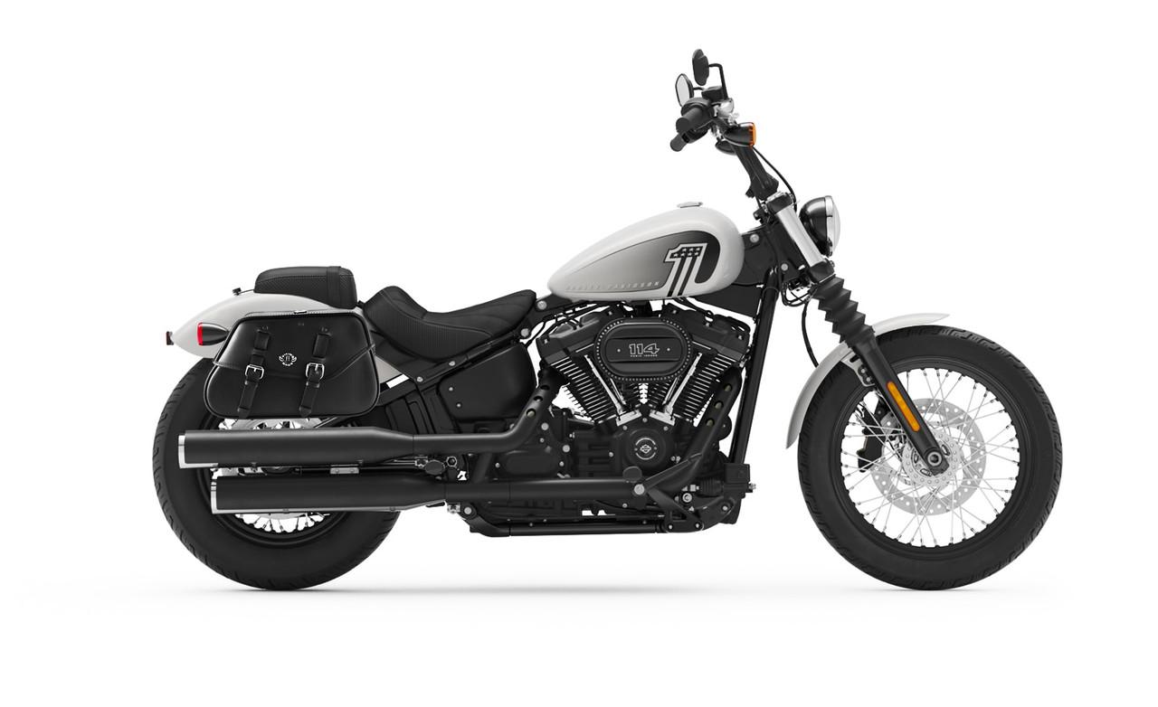 Viking Loki Classic Leather Motorcycle Saddlebags For Harley Softail Street Bob Bag on Bike View