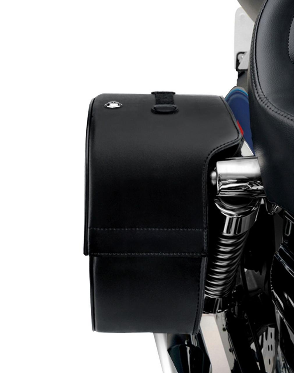 Kawasaki Vulcan 750 Armor Shock Cutout Studded Large Motorcycle Saddlebags shock cutout view