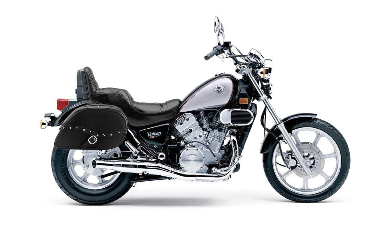 Kawasaki Vulcan 750 Armor Shock Cutout Studded Large Motorcycle Saddlebags bag on bike view