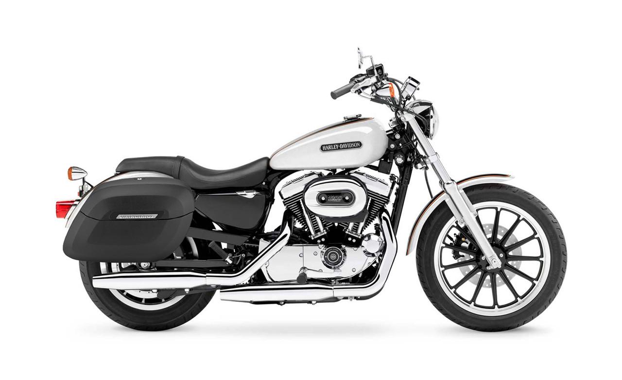 Viking Lamellar Large Matte Shock Cutout Motorcycle Hard Saddlebags For Harley Sportster 1200 Low XL1200L Bag on Bike View