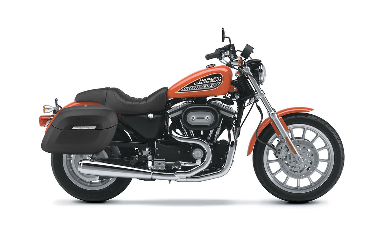 Viking Lamellar Shock Cutout Large Matte Motorcycle Hard Saddlebags For Harley Sportster 883 Low XL883L Bag on Bike View