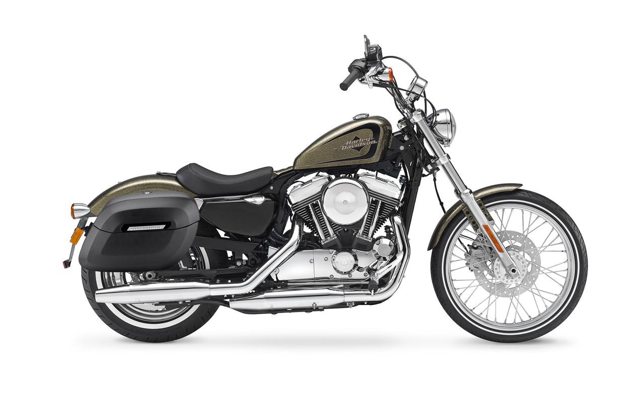 Viking Lamellar Shock Cutout Large Matte Motorcycle Hard Saddlebags For Harley Sportster Seventy Two 72 Bag on bike view