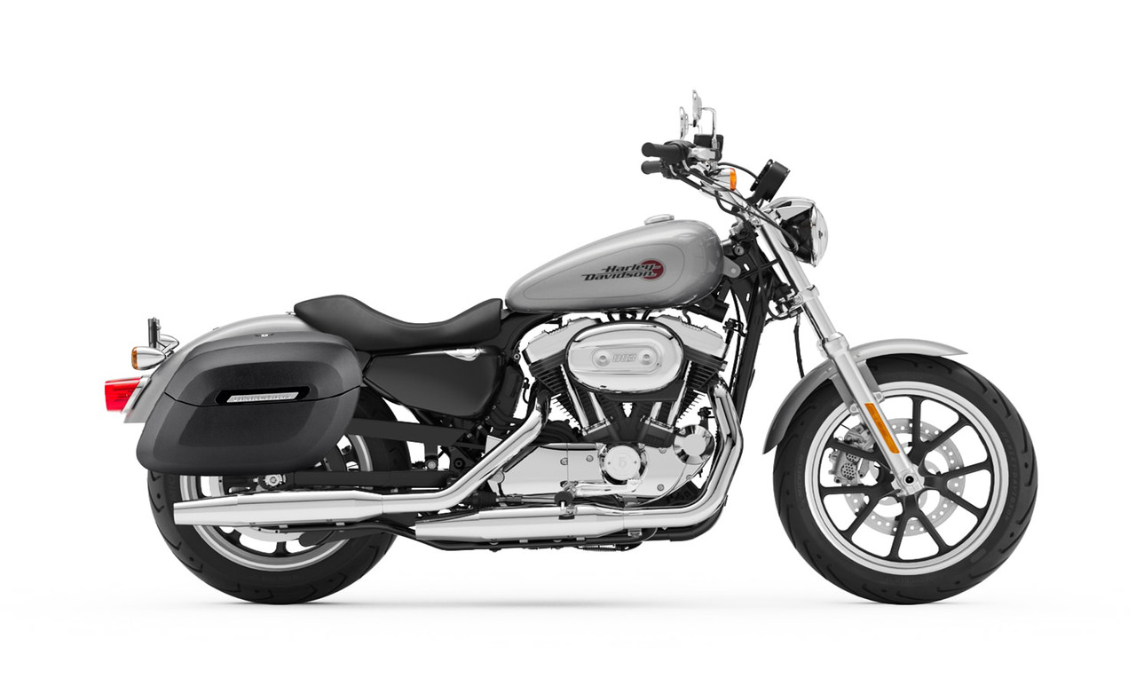 Viking Lamellar Shock Cutout Large Matte Motorcycle Hard Saddlebags For Harley Sportster Superlow Bag on Bike View