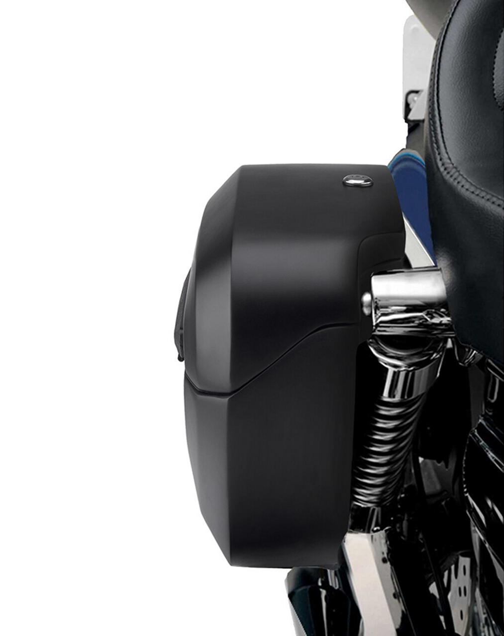Viking Lamellar Shock Cutout Large Matte Motorcycle Hard Saddlebags For Harley Dyna Street Bob FXDB shock cutout view