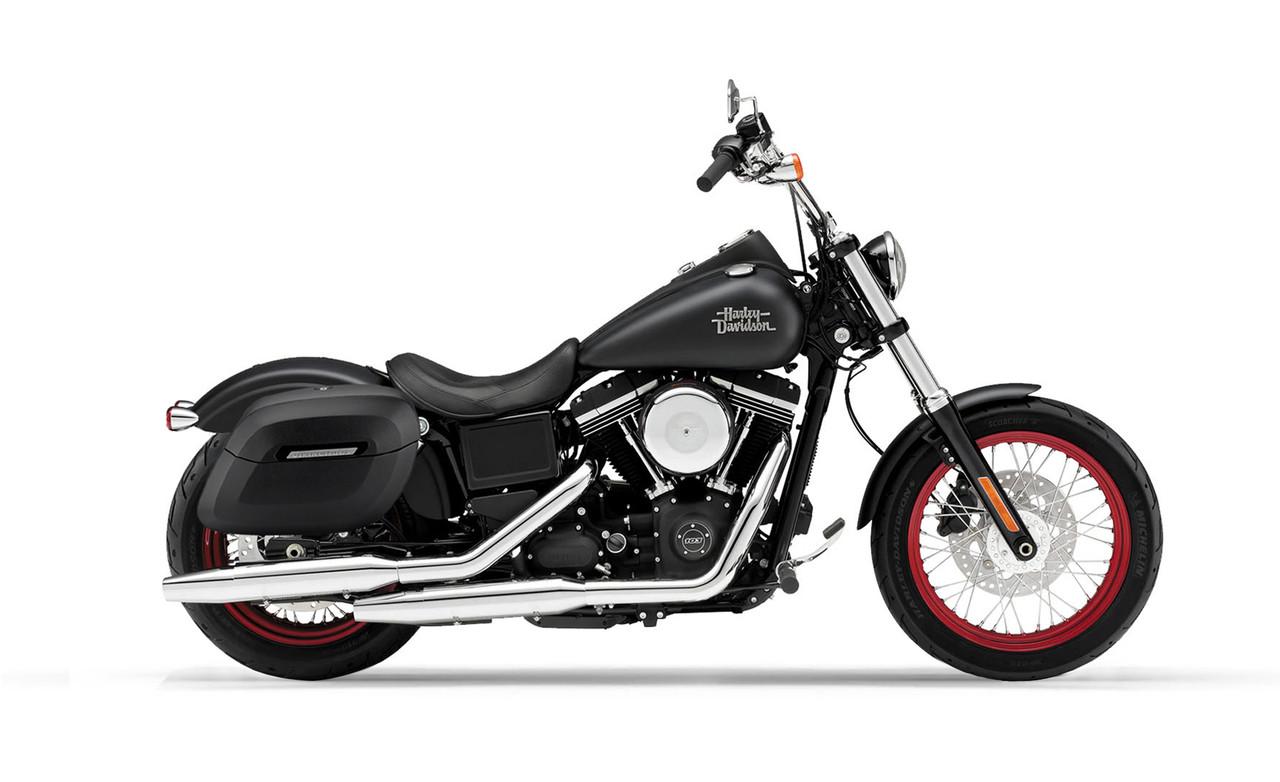Viking Lamellar Shock Cutout Large Matte Motorcycle Hard Saddlebags For Harley Dyna Street Bob FXDB bag on bike view