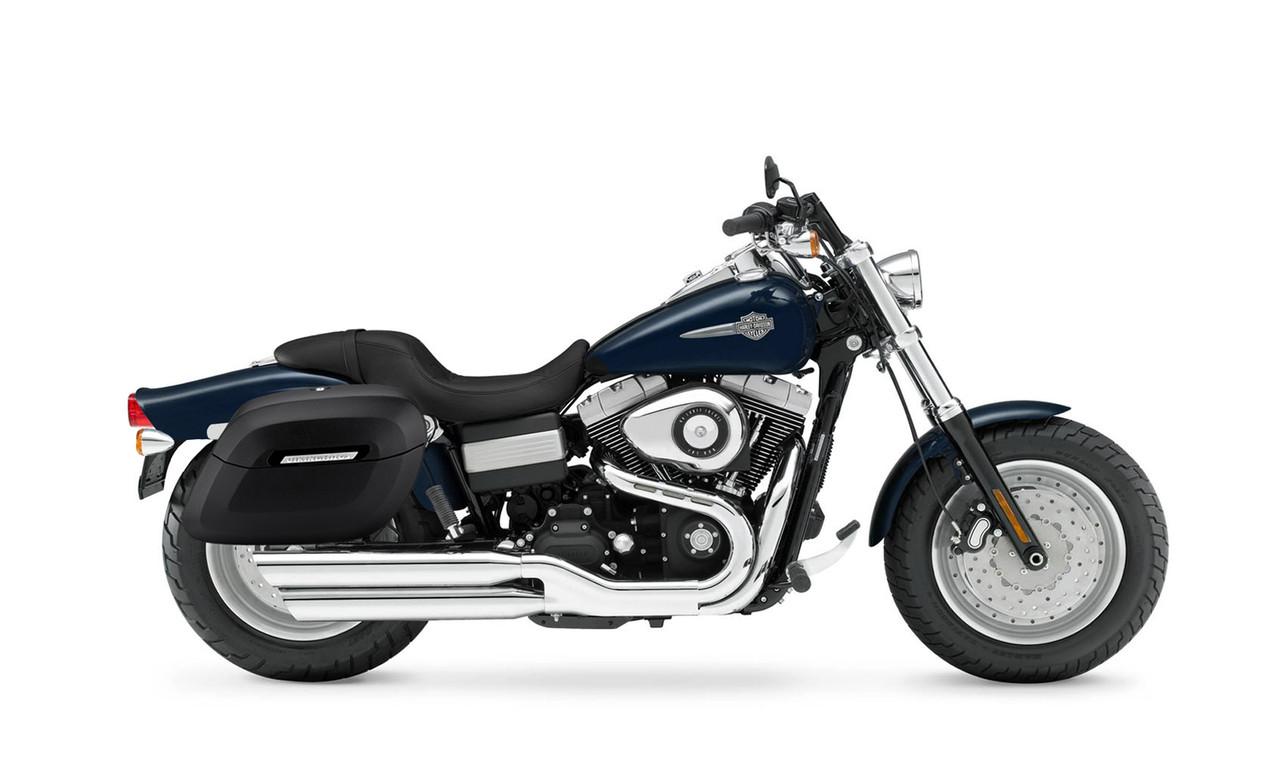 Viking Lamellar Shock Cutout Large Matte Motorcycle Hard Saddlebags For Harley Dyna Fat Bob FXDF Bag On Bike View