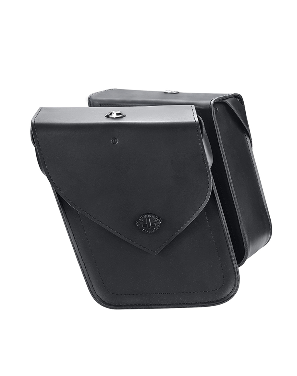 Viking Dark Age Compact Plain Leather Motorcycle Saddlebags For Sportster 1200 Nightster XL1200N Both bag view