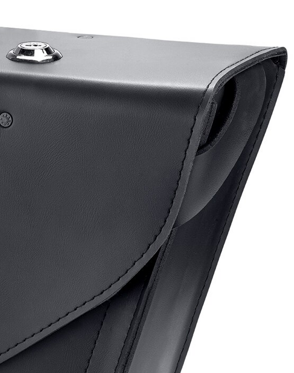 Viking Dark Age Compact Plain Leather Motorcycle Saddlebags For Sportster Seventy Two 72 Close up view