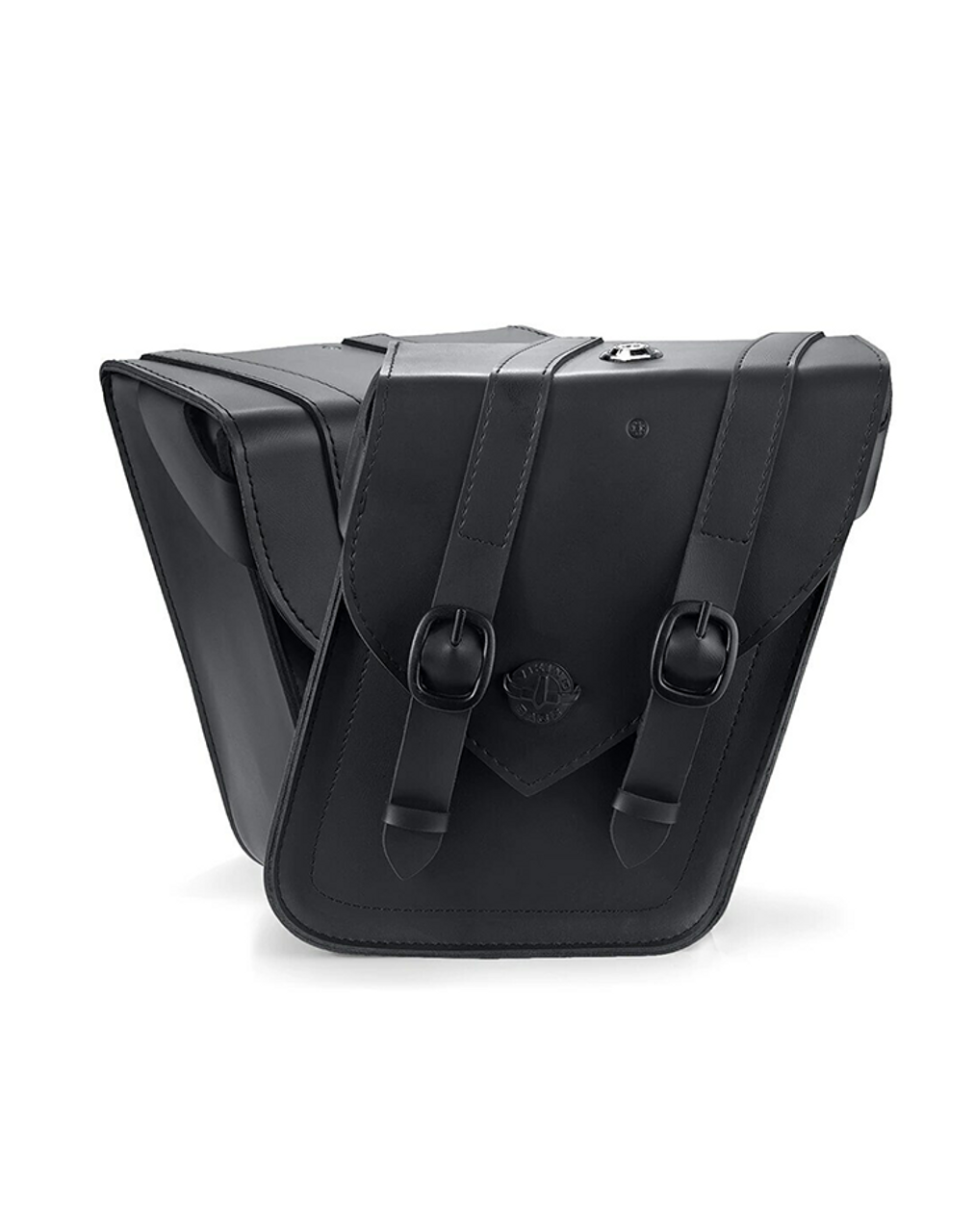 Viking Dark Age Compact Strapped Leather Motorcycle Saddlebags For Sportster Forty Eight 48 Both View