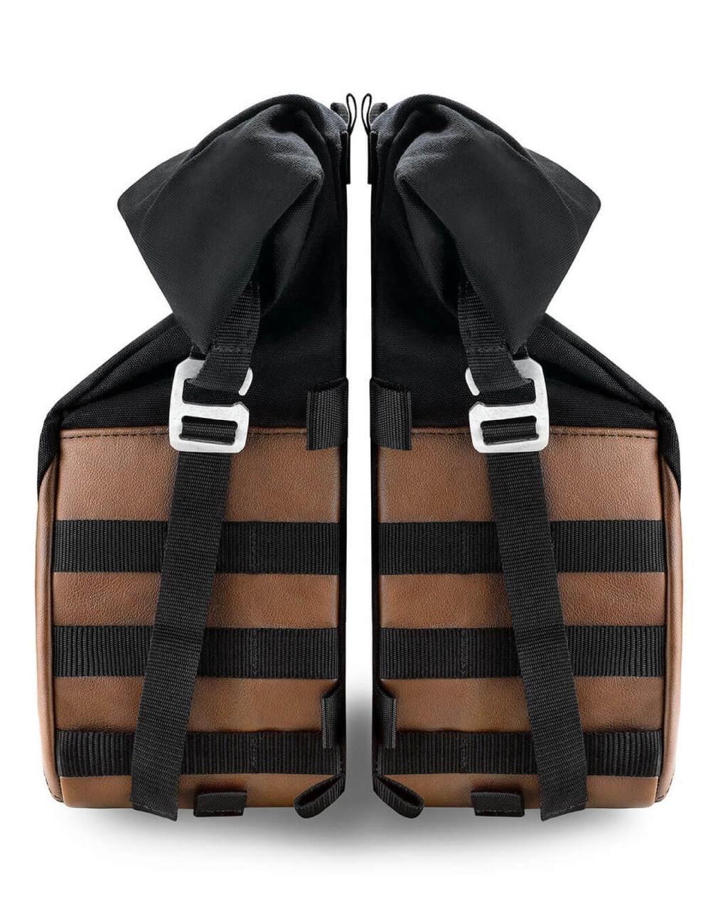 Viking Bonafide Large Brown Motorcycle Cafe Racer Saddlebags Both Bags View
