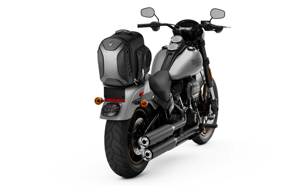 Viking Dagr Small Black Motorcycle Sissy Bar Bag on Bike View