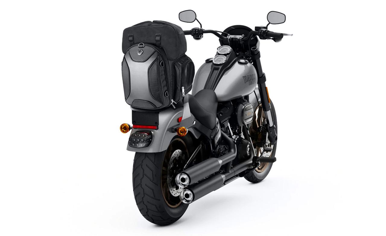 Viking Dagr Large Black Motorcycle Sissy Bar Bag on Bike