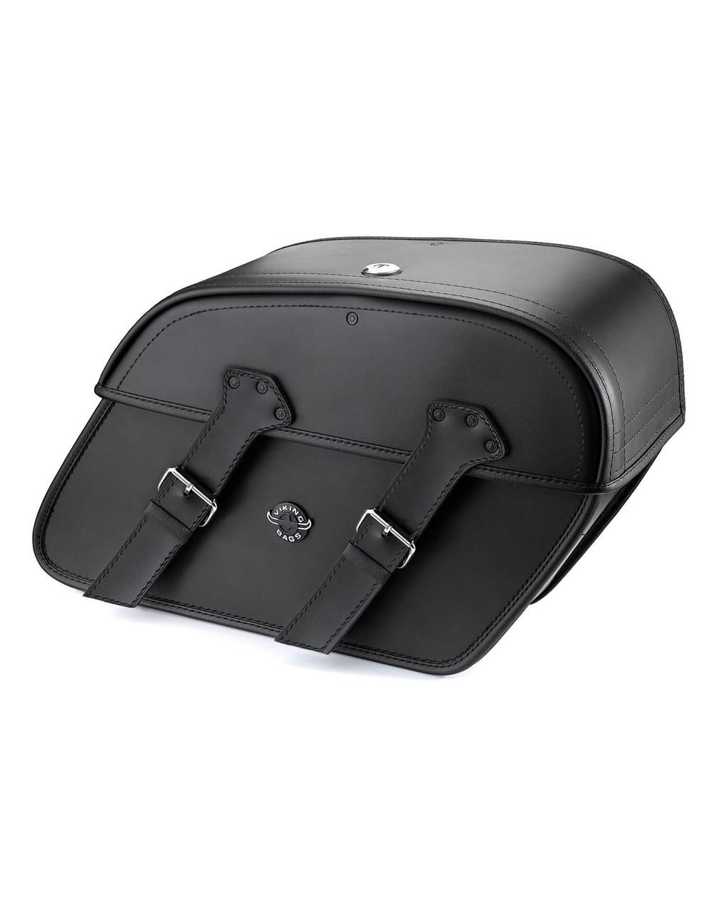 Viking Raven Medium Leather Motorcycle Saddlebags For Harley Softail Springer FXSTS Main Bag View