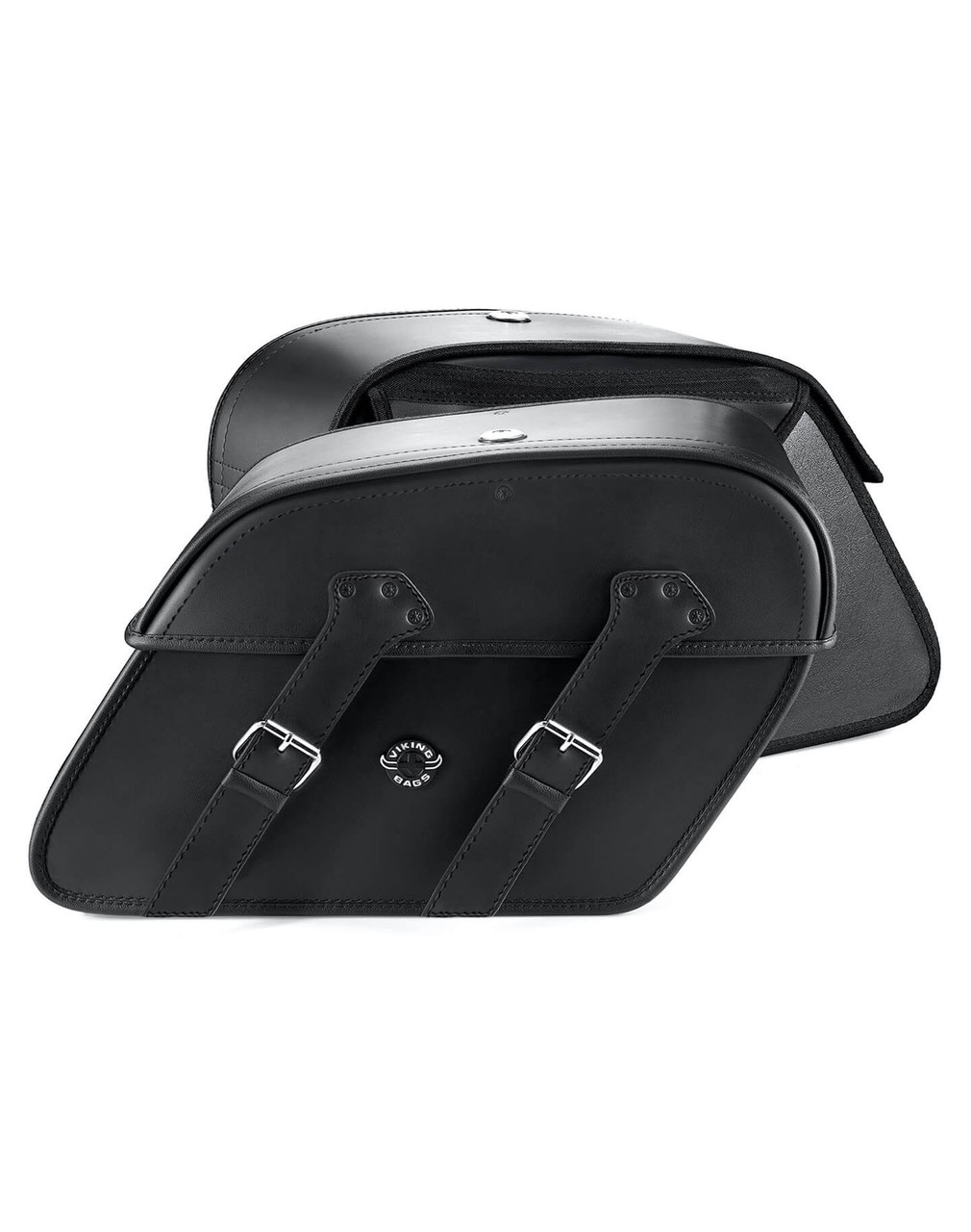Viking Raven Medium Leather Motorcycle Saddlebags For Harley Softail Springer FXSTS both bags view