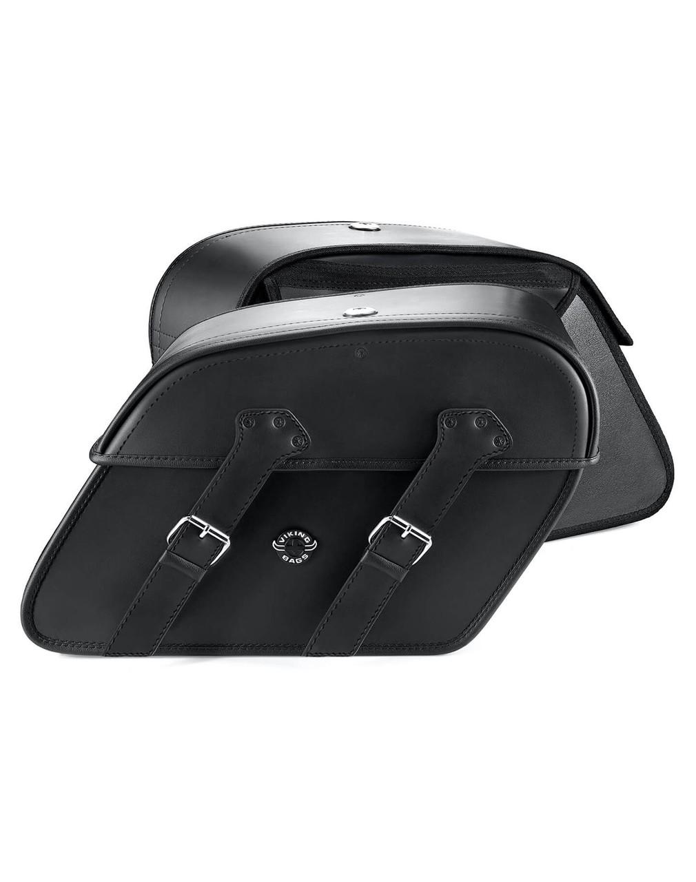Honda 600 Shadow VLX Viking Raven Medium Leather Motorcycle Saddlebags both bags view