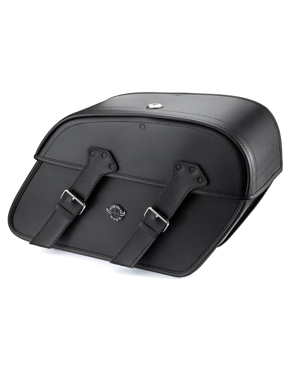 Viking Raven Large Leather Motorcycle Saddlebags For Harley Softail Springer FXSTS Main Bag View