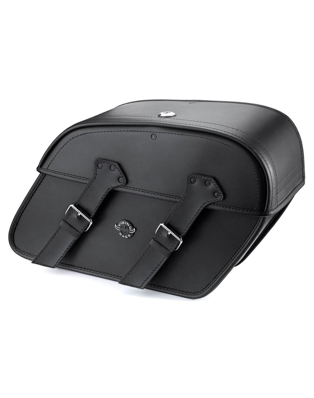 Viking Raven Large Leather Motorcycle Saddlebags  For Harley Softail Cross Bones FLSTSB Main Bag View