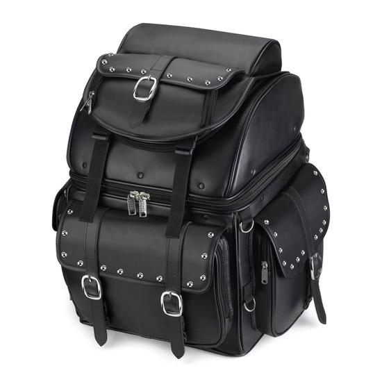 Backrest Studded Leather Motorcycle Bag
