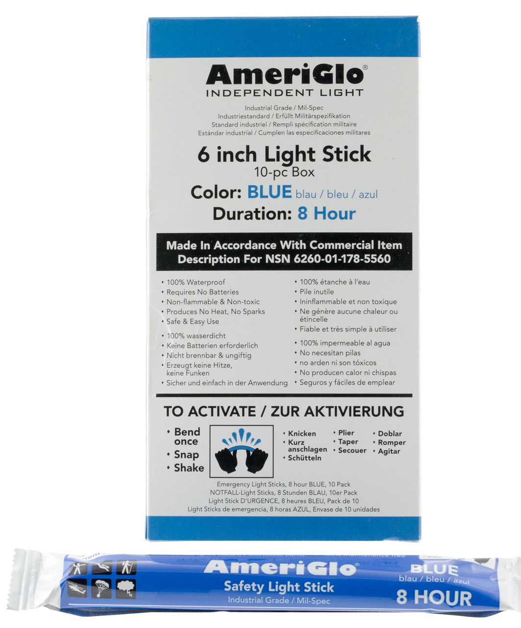 AmeriGlo light stick, 8 hour blue