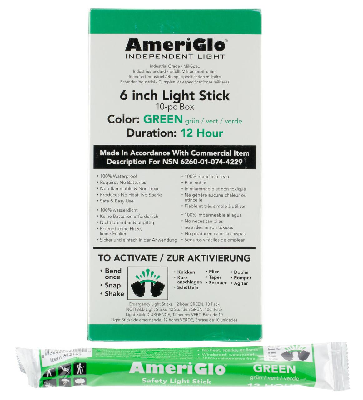 AmeriGlo light stick 10 count box,  12 hour green