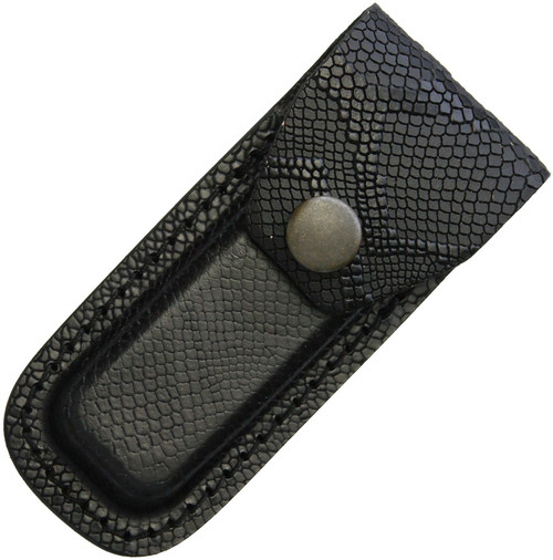 Leather Belt Sheath Black Snake Pattern, Small