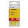ATM mini blade 20 amp fuse yellow Bussmann 25 piece value pack