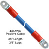 """36"""" 4/0 AWG Arctic Ultraflex Blue Positive Battery Cable with 3/8"""" plated copper eyelet lugs and red heavy wall adhesive lined heat shrink"""