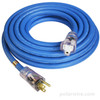 25 foot 14 gauge Arctic Ultraflex Blue extension cord single outlet power cord with molded clear NEMA 5-15 lighted ends