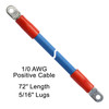 """72"""" 1/0 AWG Arctic Ultraflex Blue Positive Battery Cable with 5/16"""" plated copper eyelet lugs and red dual wall adhesive lined heat shrink"""