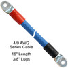 """16"""" 4/0 AWG Arctic Ultraflex Blue Series Battery Cable with 3/8"""" plated copper eyelet lugs and black and red heavy duty adhesive lined heat shrink"""