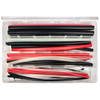 Heat shrink service kit with red, black, and clear adhesive shrink tubing in four sizes