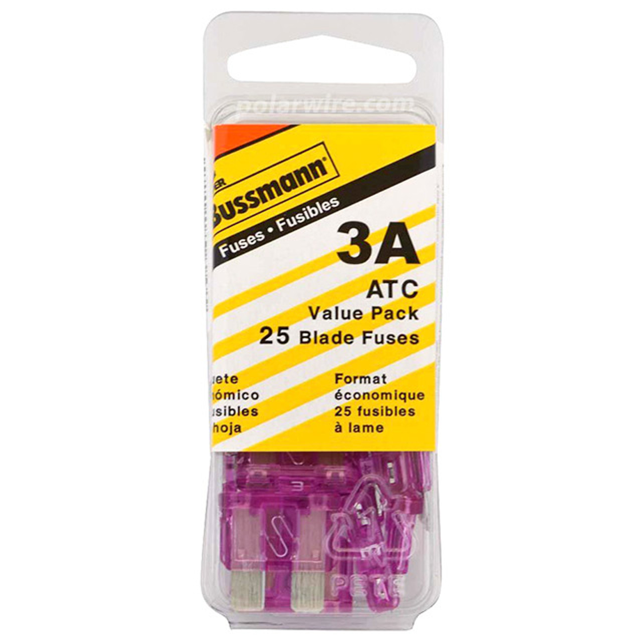ATC BLADE FUSE 3AMP 25PC  VALUE PACK