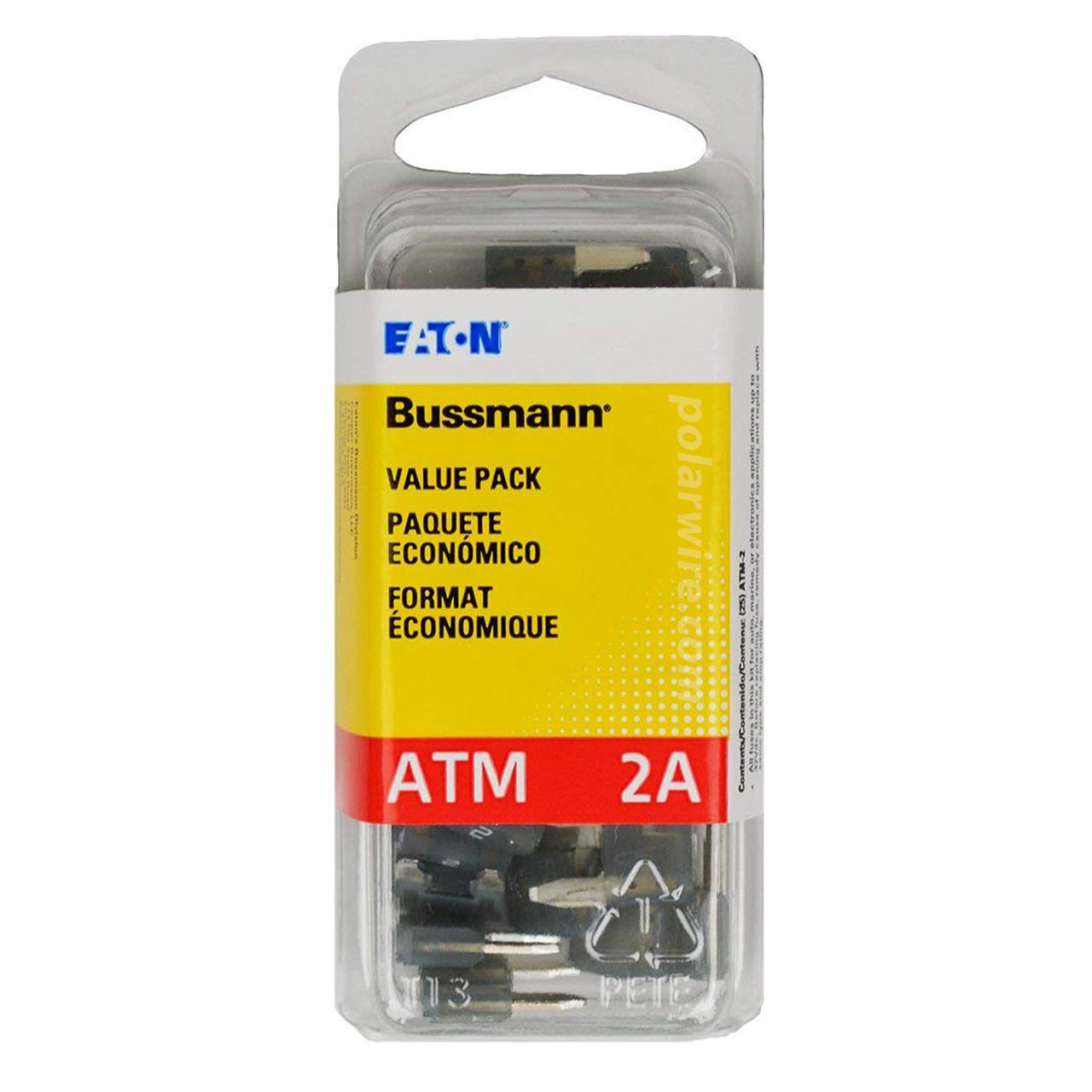 ATM mini blade 2 amp fuse gray Bussmann 25 piece value pack