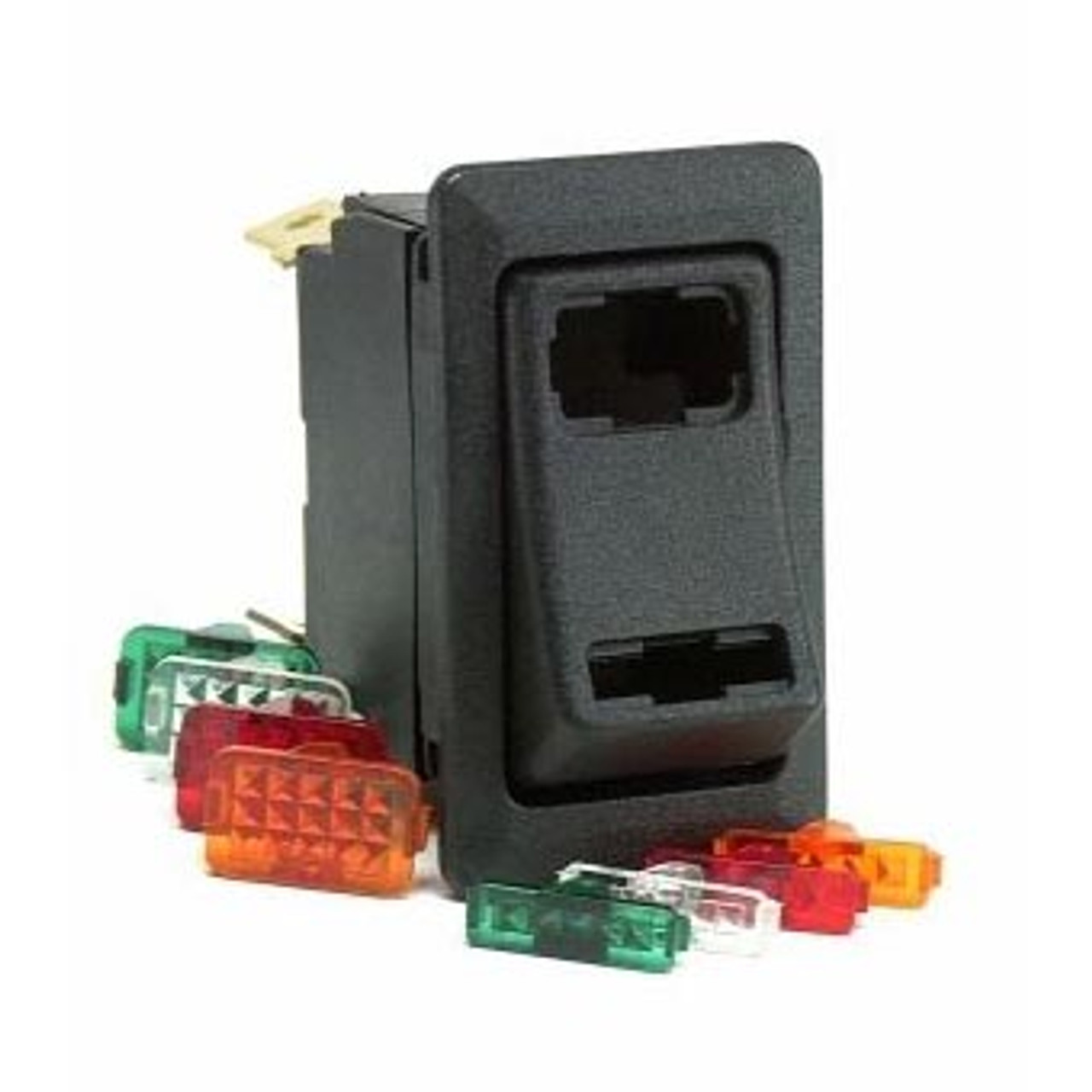 ROCKER SWITCH ON-OFF-ON K SPDT 4 BLADE TERMS. MULTI