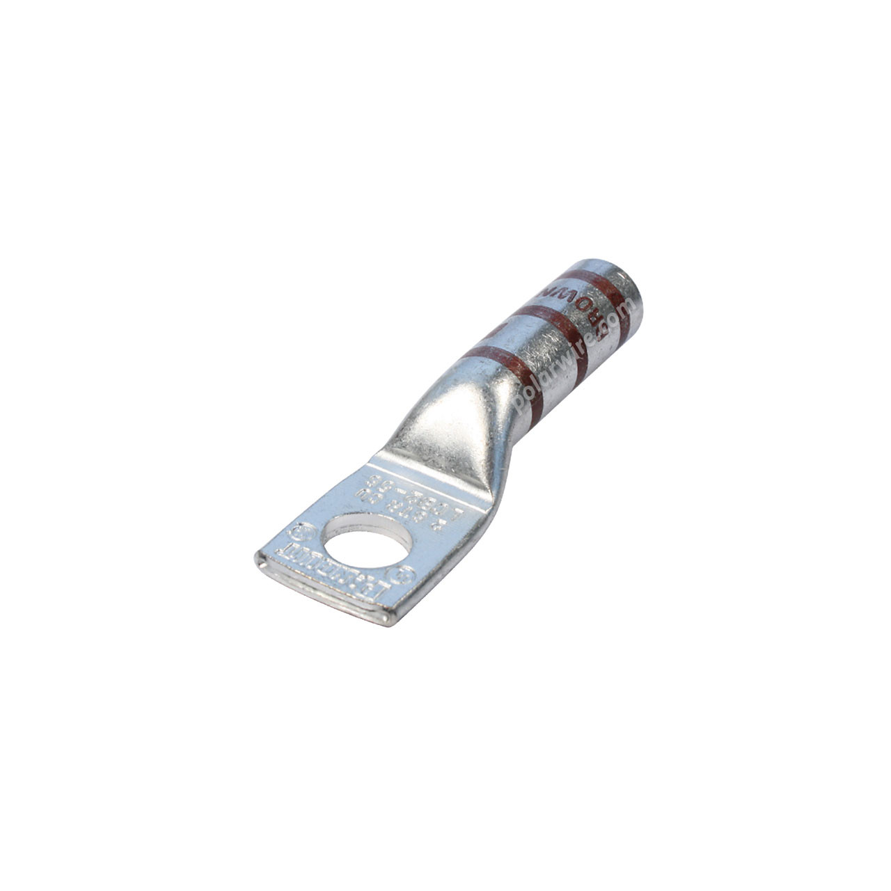 2 gauge code long barrel heavy duty compression lug, 5/16 inch stud, high strength, highly conductive electrolytic tin plated copper
