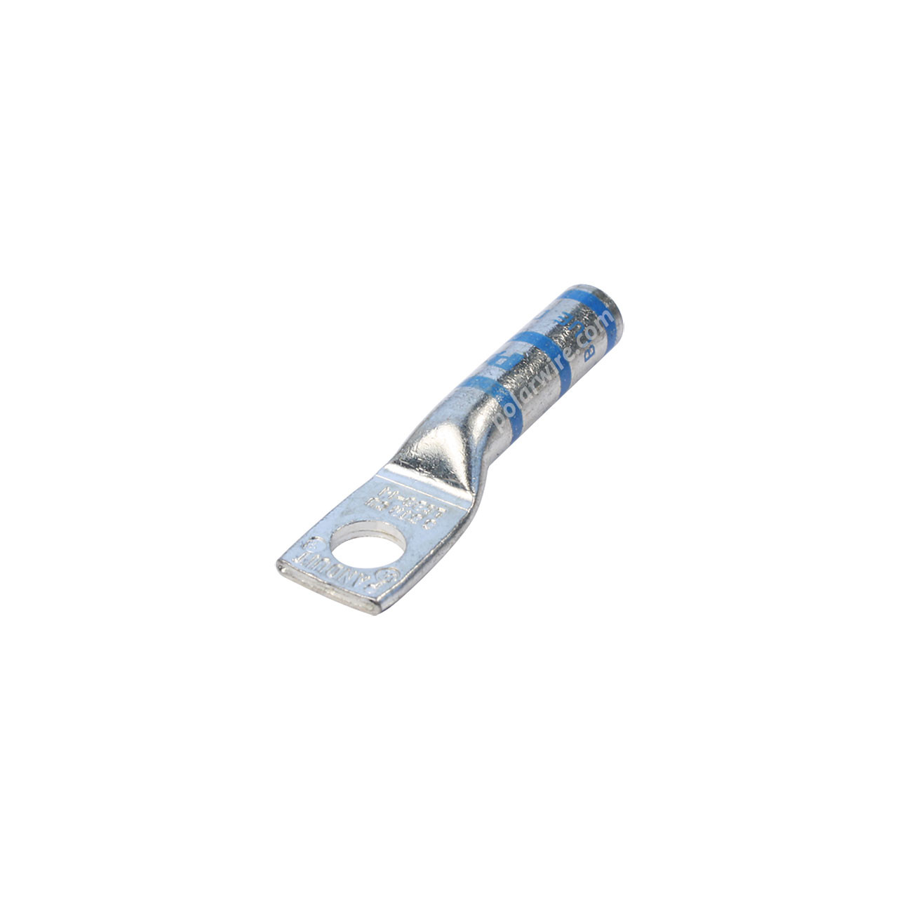 6 gauge code long barrel heavy duty compression lug, 1/4 inch stud, high strength, highly conductive electrolytic tin plated copper