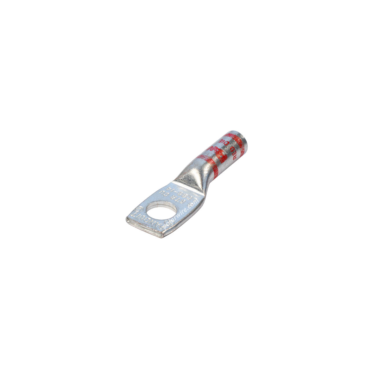 8 gauge code long barrel heavy duty compression lug, 1/4 inch stud, high strength, highly conductive electrolytic tin plated copper
