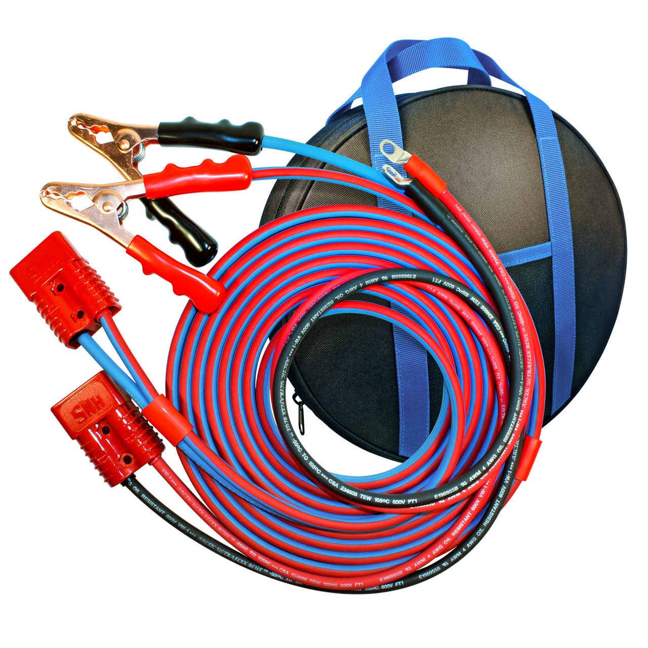 20' Cold Weather Premium Jumper Cable, Clamp to Harness, 4 AWG Booster System
