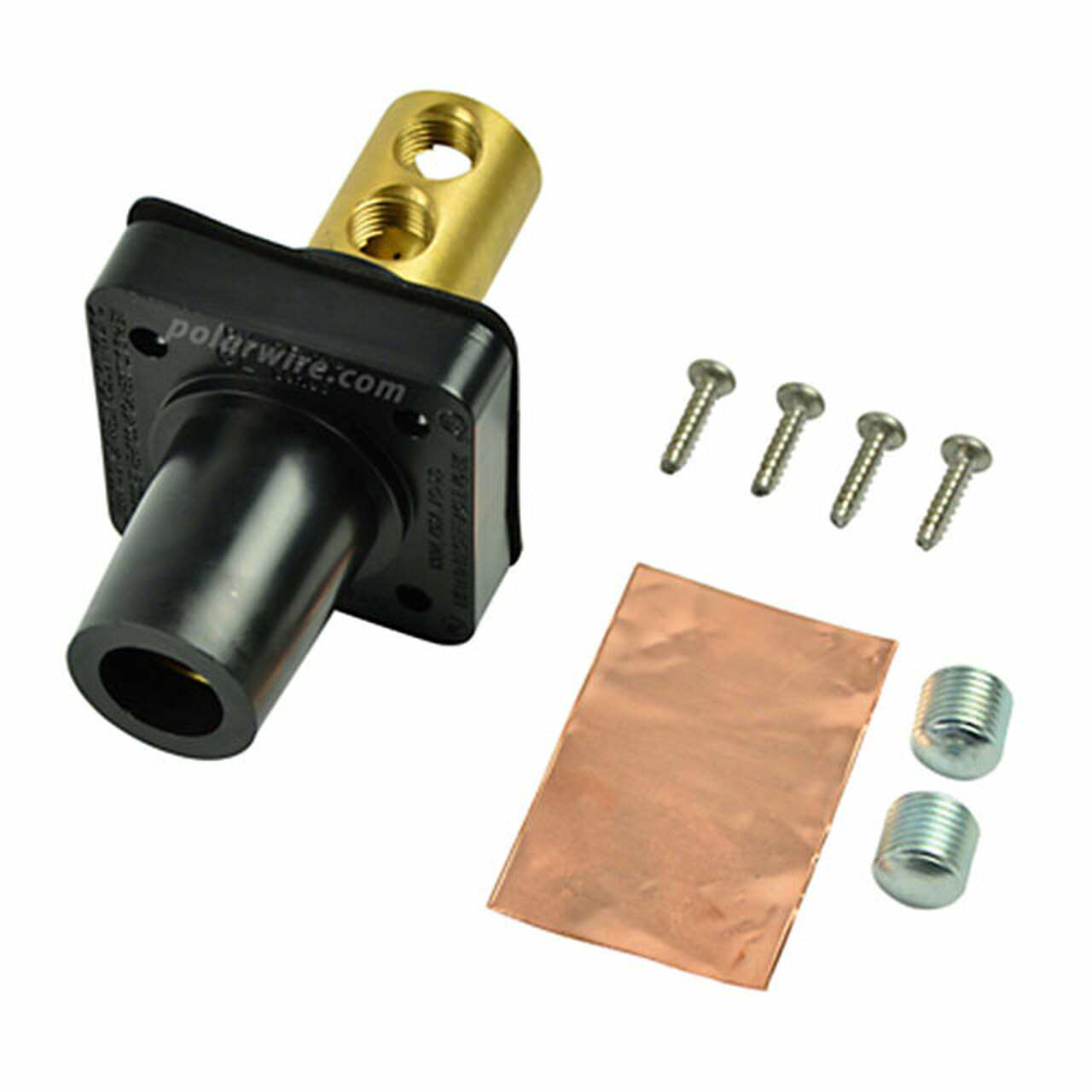 Marinco black 400A CL 16 Series female single pin panel mount cam lock connector with set screw for 2-2/0 AWG cable
