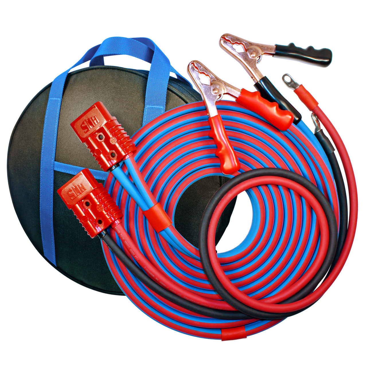 20' Cold Weather Heavy Duty Jumper Cable Clamp to Harness 2 Gauge Booster System
