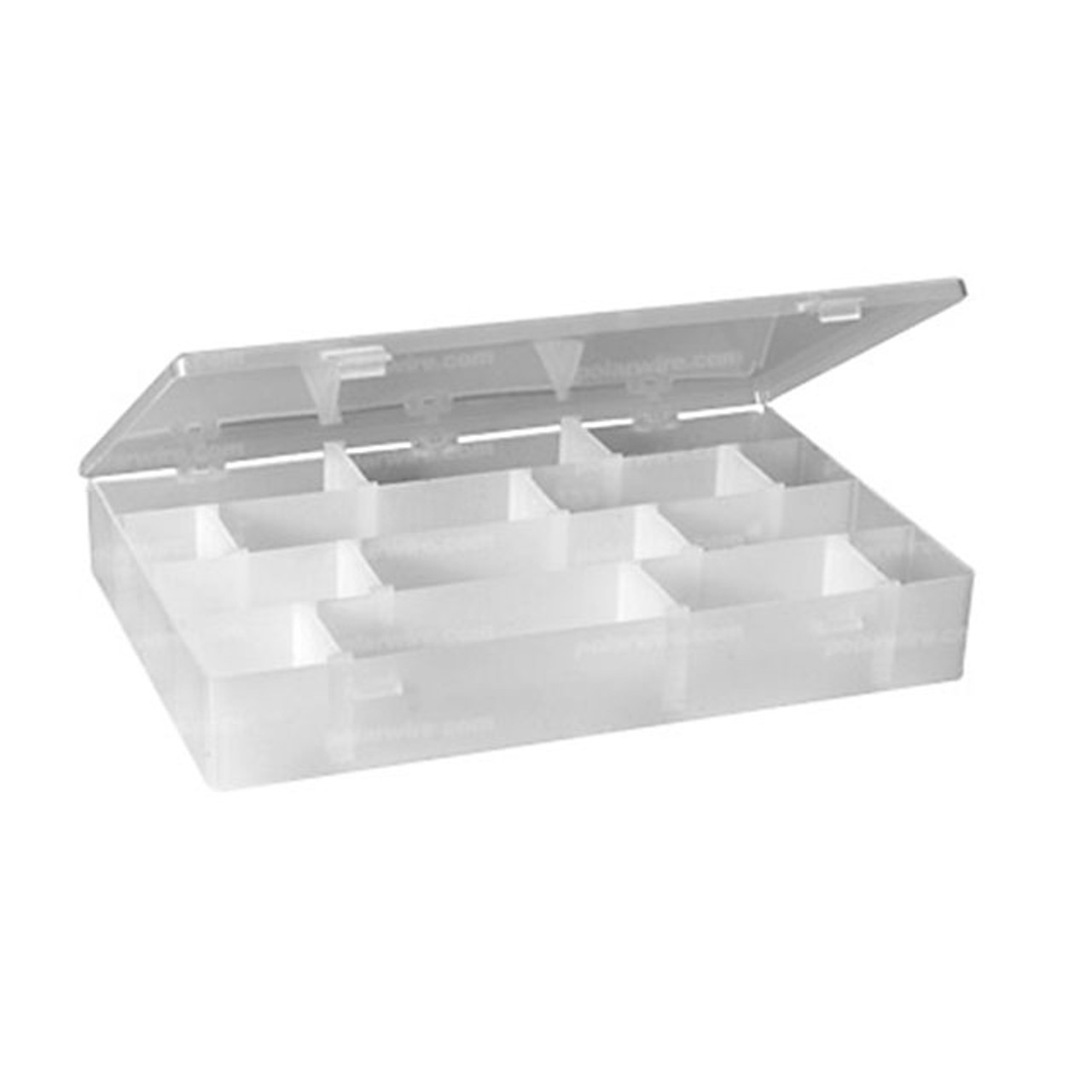24-hole clear storage box with 20 removable dividers for organizing and storing small parts and kits